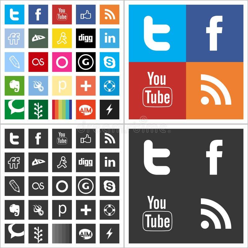 Mång- kulöra symboler för social nätverkslägenhet royaltyfri illustrationer