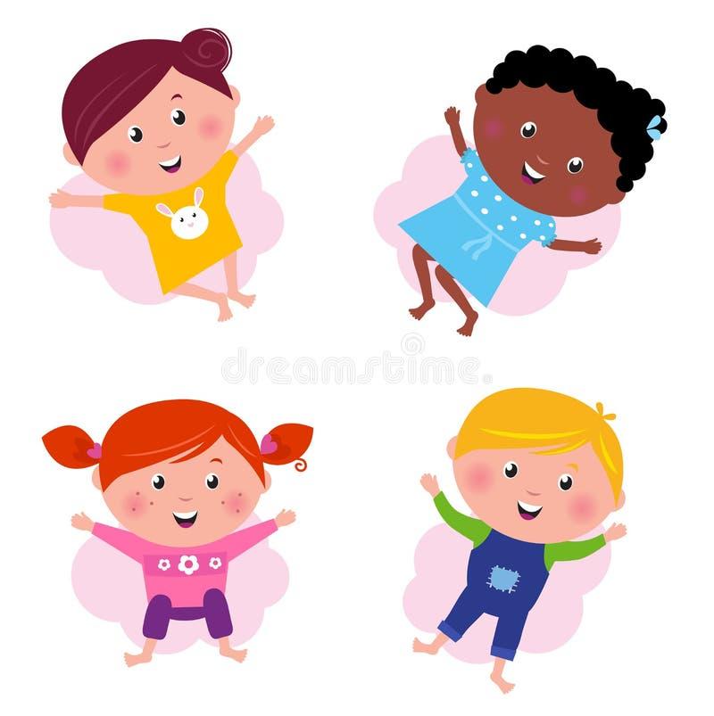 mång- kulturell olik banhoppning för barn stock illustrationer