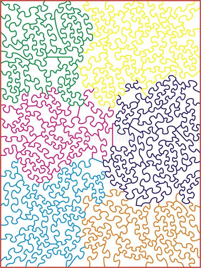 mång- modellpussel för kulör jigsaw royaltyfri illustrationer