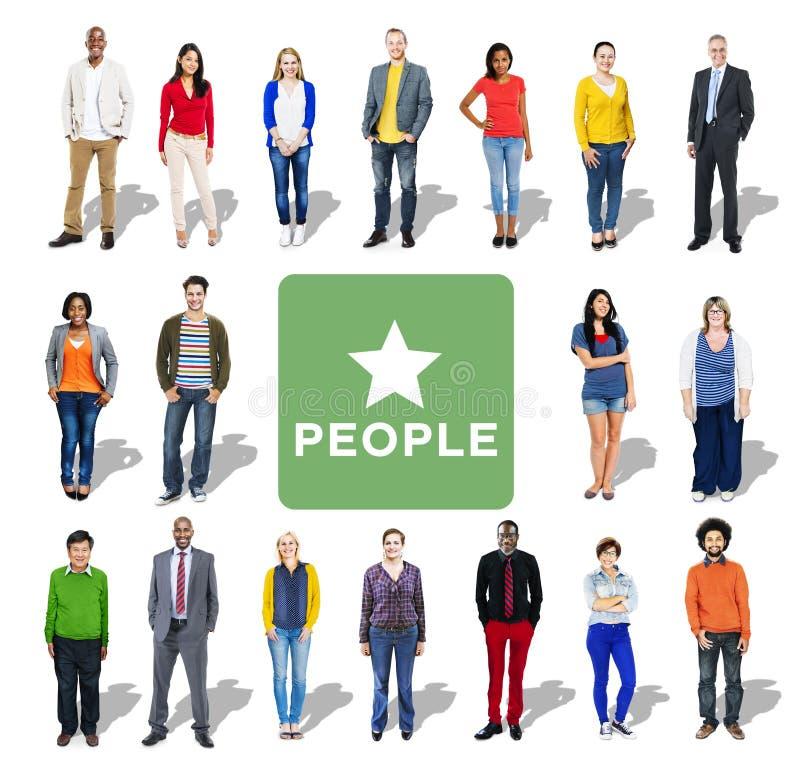 Mång--person som tillhör en etnisk minoritet grupp människor i rad royaltyfria foton