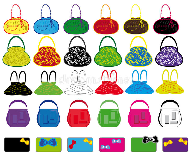 mång- set för kulör handväskadamtoalett stock illustrationer