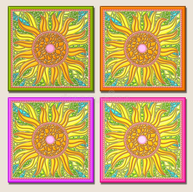 mång- solros för mosaik vektor illustrationer