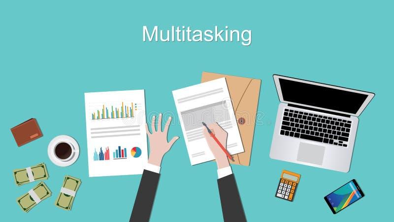 Mång- taskingbegreppsillustration med affärsmannen som arbetar på den skrivbordsarbetedokumentbärbara datorn och handen vektor illustrationer