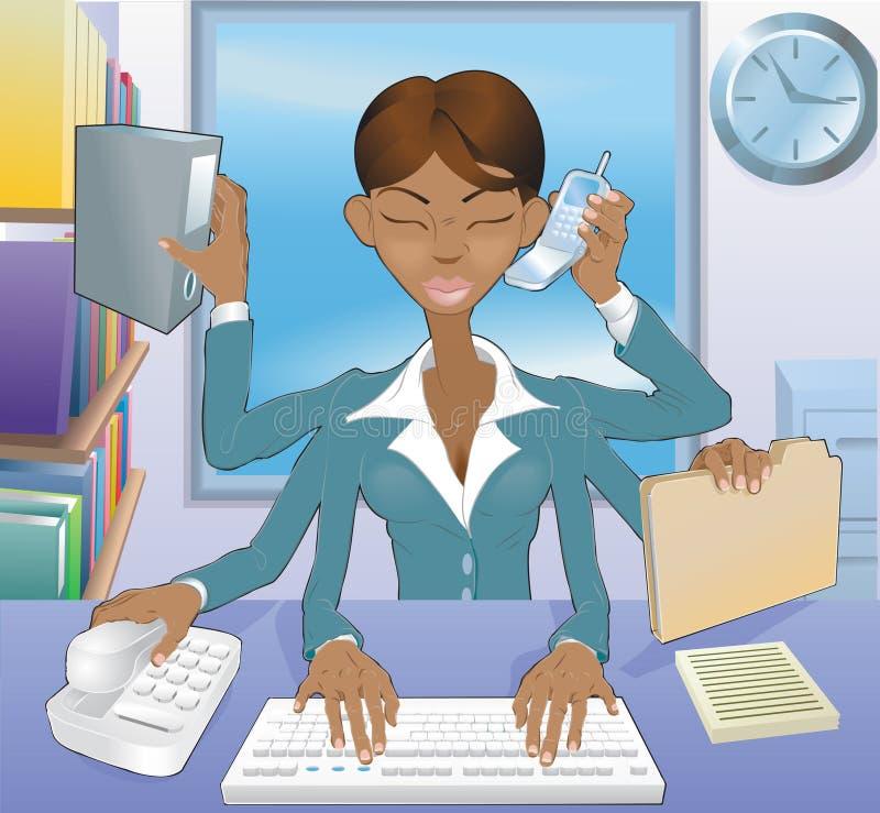 mång- taskingkvinna för affär stock illustrationer