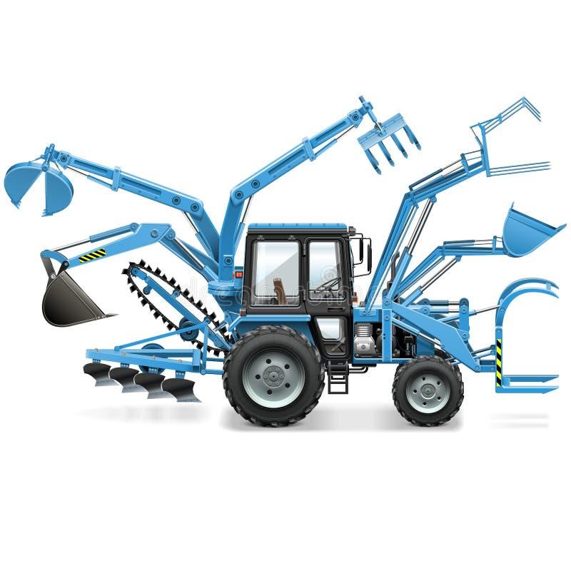 Mång- traktor för vektor stock illustrationer