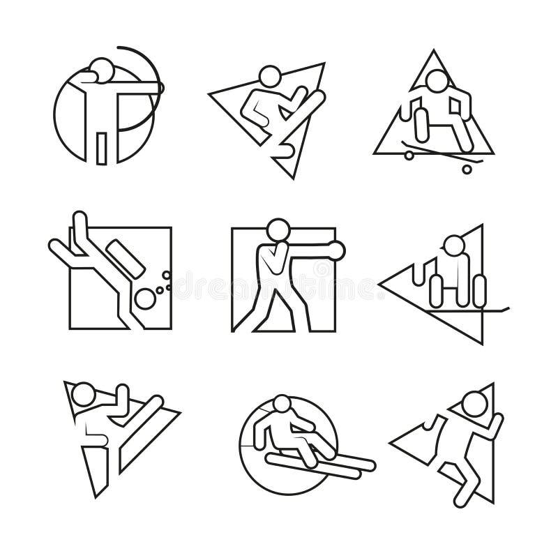 Mång- uppsättning för diagram för illustration för vektor för abstrakt symbol för Shape översiktssport royaltyfri illustrationer