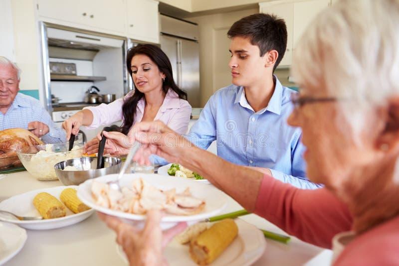Mång--utveckling familjsammanträde runt om tabellen som äter mål fotografering för bildbyråer