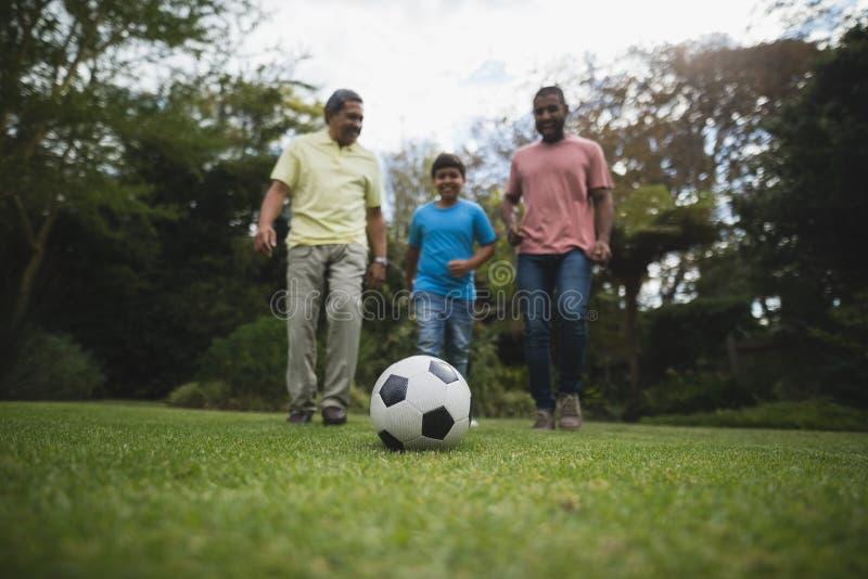 Mång--utvecklingen familjen som spelar fotboll på, parkerar tillsammans royaltyfri fotografi