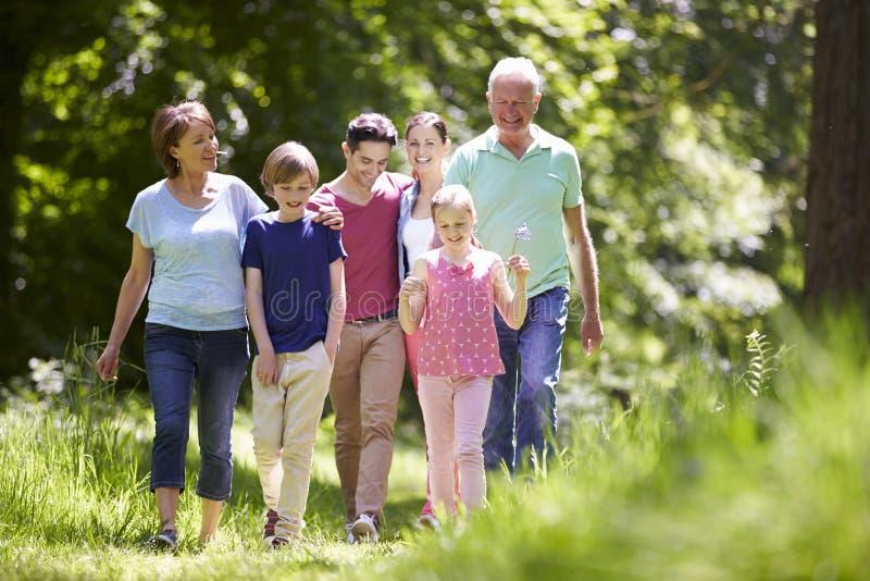 Mång- utvecklingsfamilj som går till och med sommarbygd arkivfoto