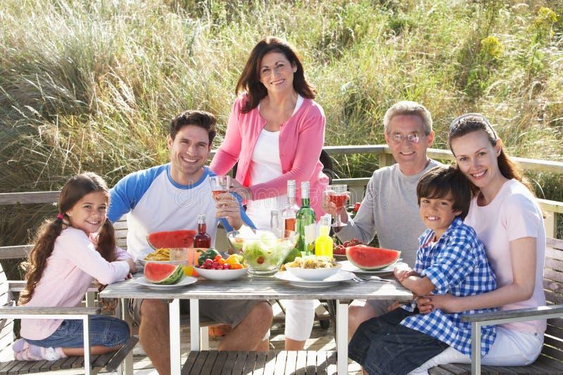 Mång- utvecklingsfamilj som har den utomhus- grillfesten arkivfoto