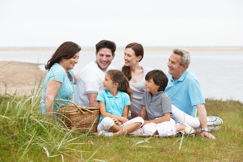 Mång- utvecklingsfamilj som har picknicken vid havet arkivbilder