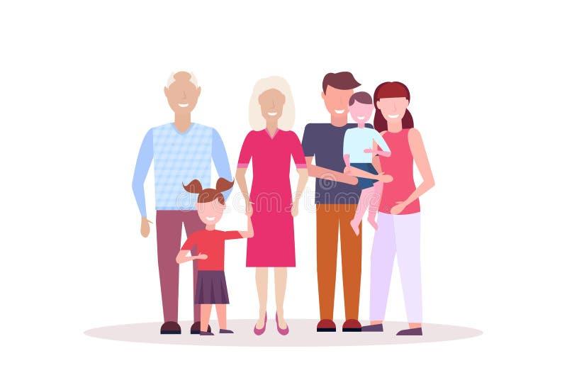 Mång- utvecklingsfamilj som tillsammans mycket står lyckliga tecken för tecknad film för för morförälderföräldrar och barn manlig stock illustrationer