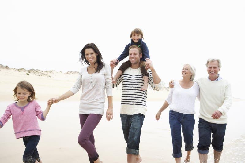 Mång- utvecklingsfamilj som tillsammans promenerar stranden royaltyfri fotografi