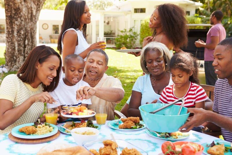 Mång- utvecklingsfamilj som tillsammans tycker om mål i trädgård royaltyfri fotografi