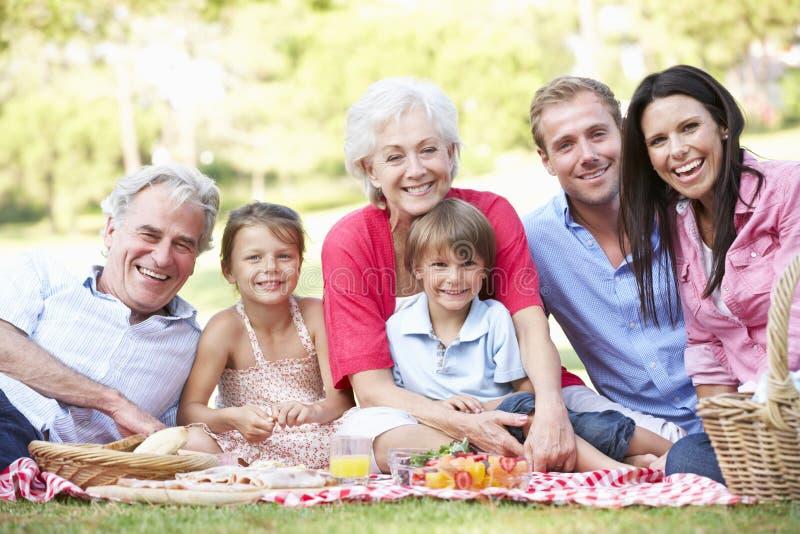 Mång- utvecklingsfamilj som tillsammans tycker om picknicken royaltyfria bilder