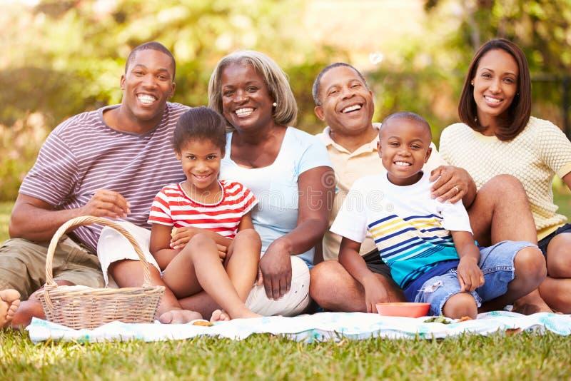 Mång- utvecklingsfamilj som tillsammans tycker om picknicken i trädgård royaltyfri bild