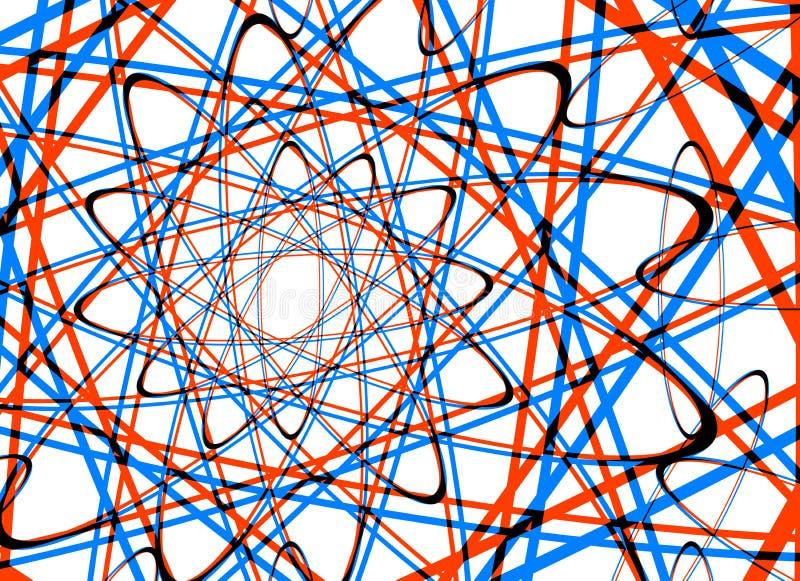 Många abstrakt begrepp krullade linjer på vita bakgrunder royaltyfri illustrationer