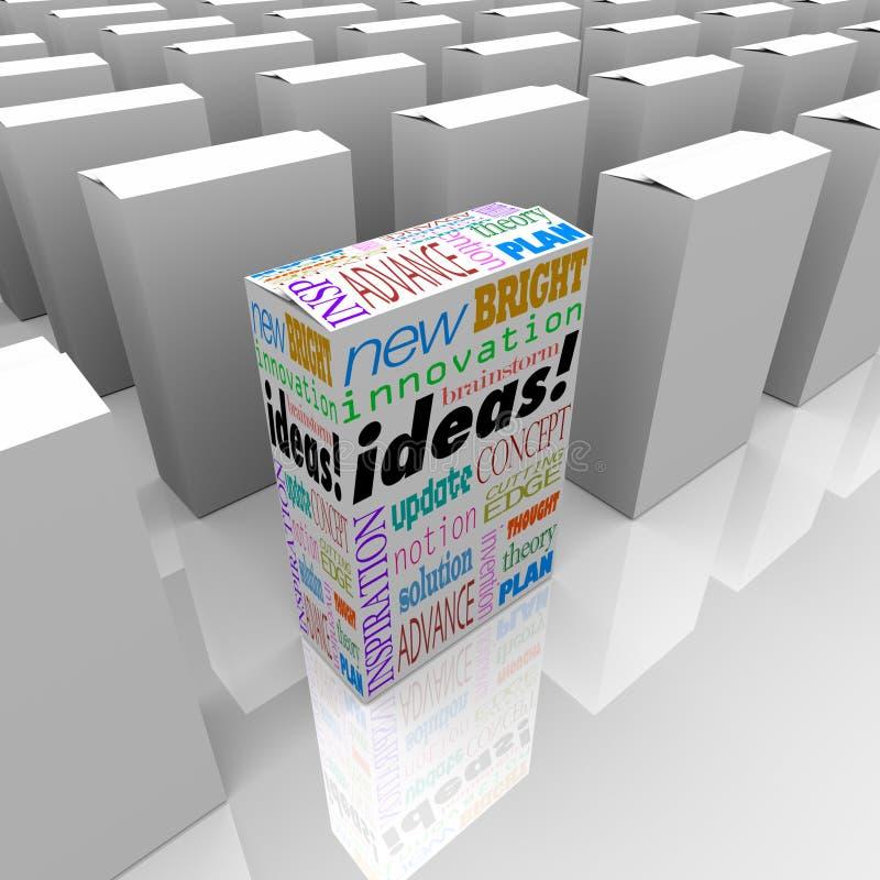 Många askar av idéer - en olik produktask står ut stock illustrationer