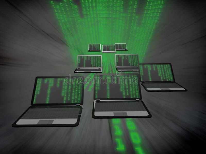 Många bärbara datorer med en binär kod royaltyfri illustrationer