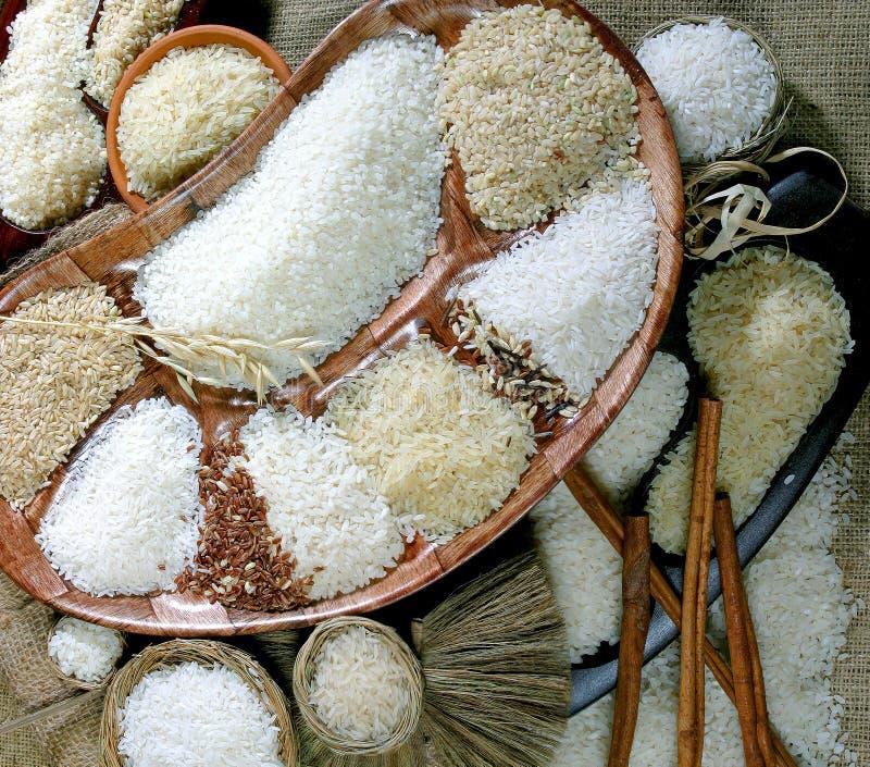 många bakgrundsklimpmat meat mycket Sortiment av rice arkivbilder