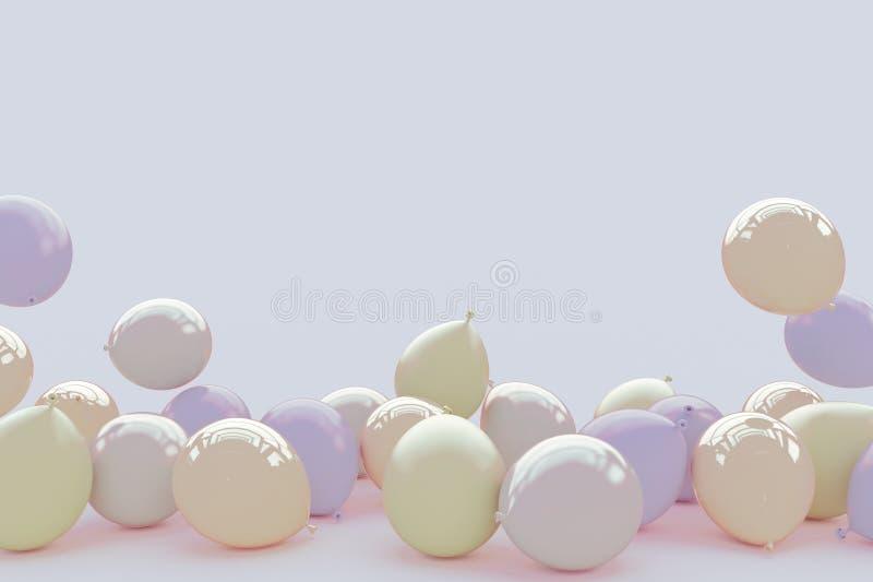 Många ballonger i rosa pastellfärgade färger på ett ljust - purpurfärgad bakgrund avstånd för kortkopieringshälsning 3d framför royaltyfri illustrationer