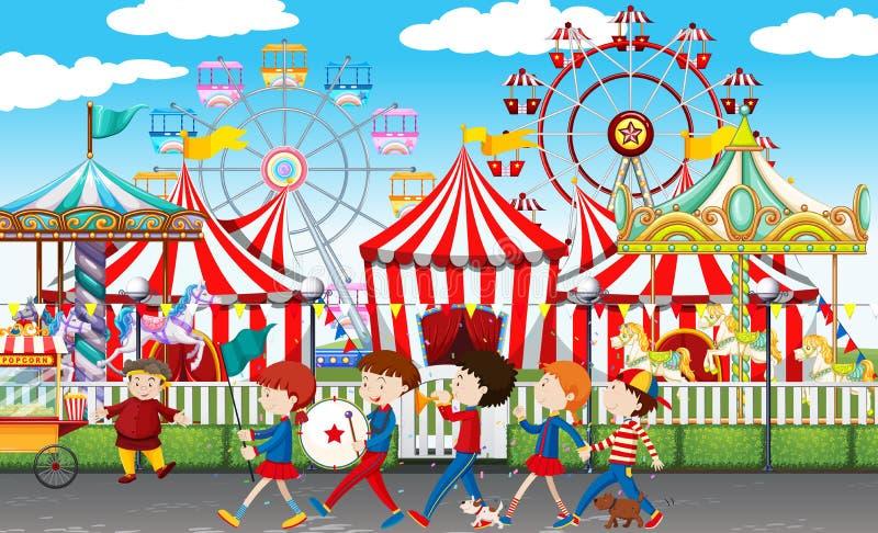 Många barn på karnevalet royaltyfri illustrationer