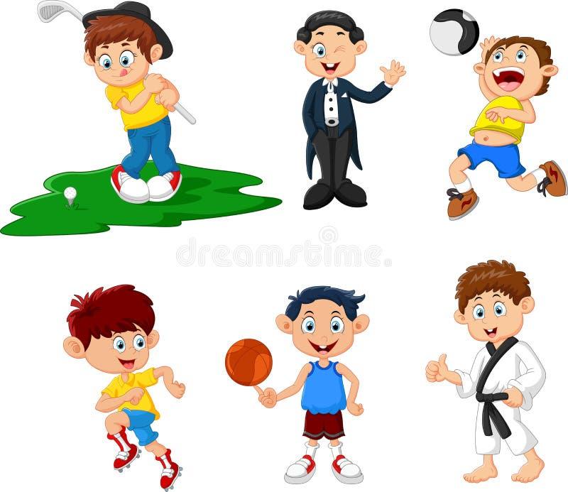 många barn som gör sporttecknade filmen royaltyfri illustrationer