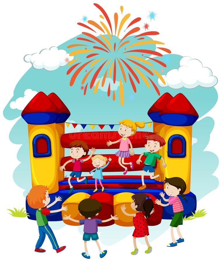 Många barn som hoppar på att studsa slotten royaltyfri illustrationer