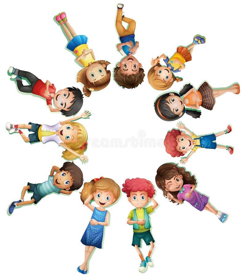 Många barn som ner ligger i cirkel royaltyfri illustrationer