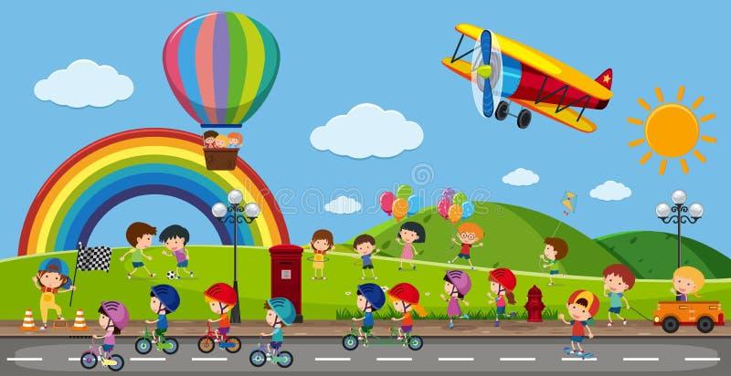 Många barn som spelar i parkera stock illustrationer