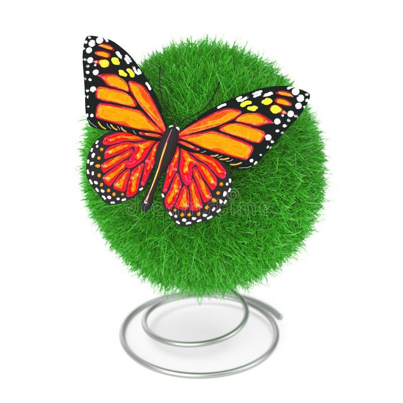 många begreppsekologibilder mer min portfölj Gullig fjäril med gula och orange färger över boll för grönt gräs framförande 3d royaltyfri illustrationer