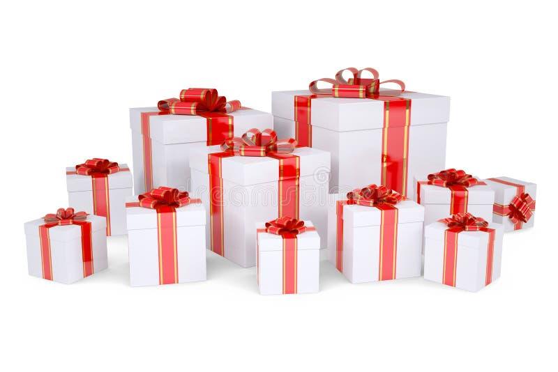 Många boxas av gåvor som dekoreras med röda band royaltyfri illustrationer