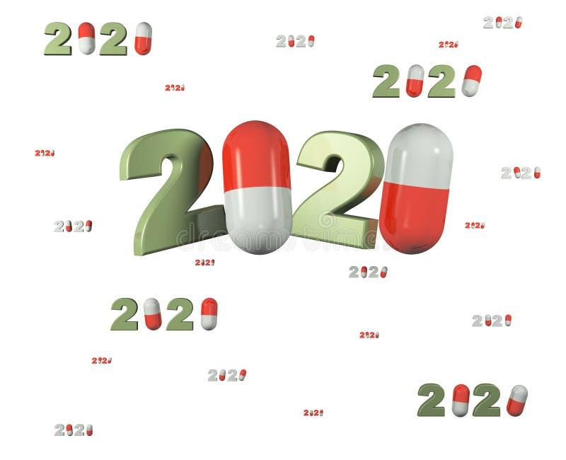 Många designer för piller 2020 med massor av piller stock illustrationer