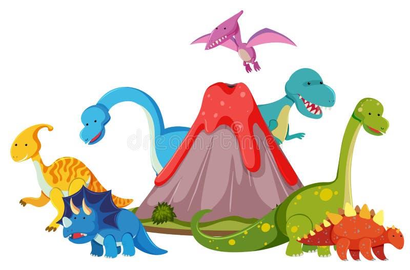 Många dinosaurie bredvid vulkan stock illustrationer