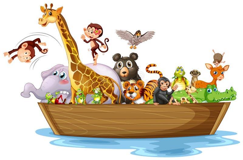 Många djur på träbåt stock illustrationer