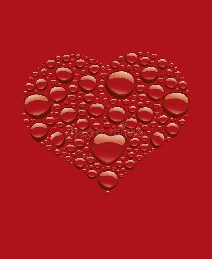 Många droppar för rött vatten som skapar hjärtaform stock illustrationer