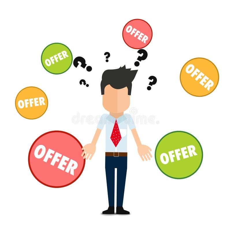 Många erbjudanden, vad som ska väljas, toppen kvalitets- abstrakt affärsaffisch stock illustrationer