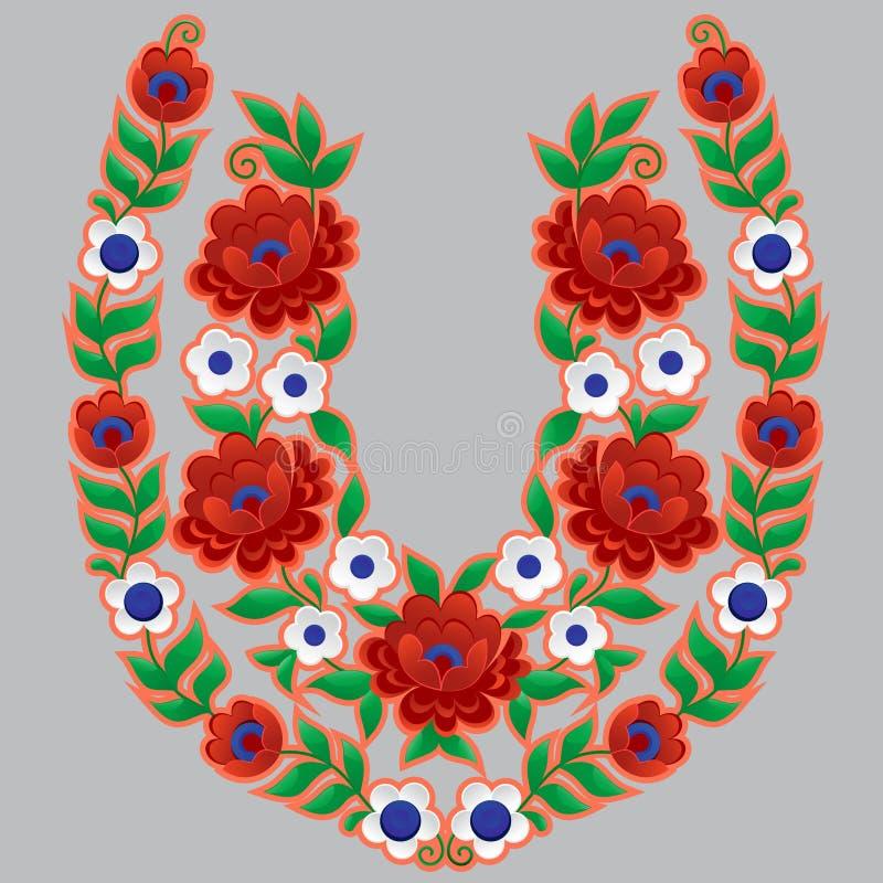 Många-färgad blommamodell i formen av hästskon stock illustrationer