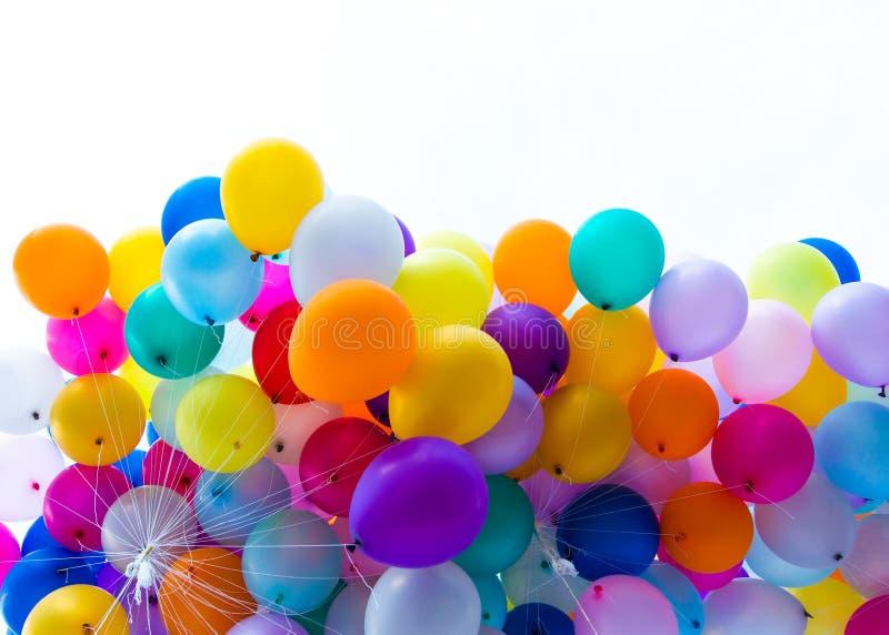 Många färgrika ballonger arkivbild