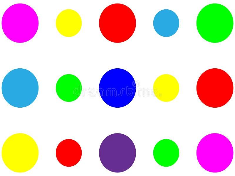 Många färgrika enkla cirklar på den vita bakgrunden vektor illustrationer
