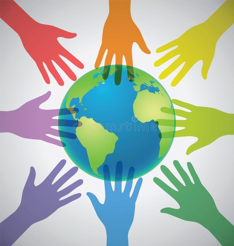 Många färgrika händer som omger jorden, jordklot, enhet, värld vektor illustrationer