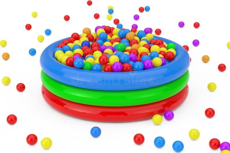 Många färgrika plast- bollar Falled och fylld barnpöl framf?rande 3d royaltyfri bild