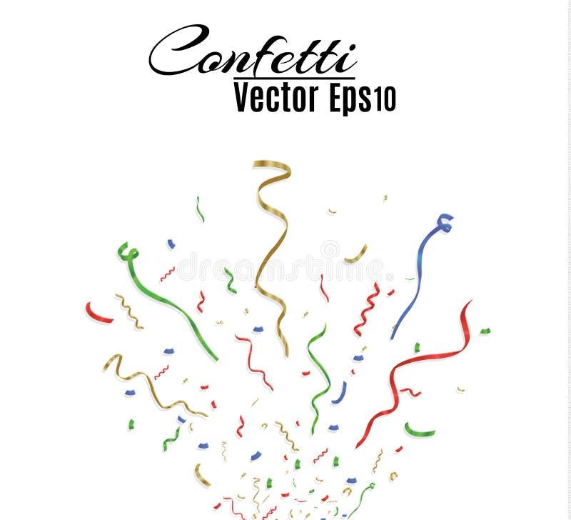 Många fallande färgrika mycket små konfettier och band på genomskinlig bakgrund Berömhändelse och parti mångfärgat royaltyfri illustrationer