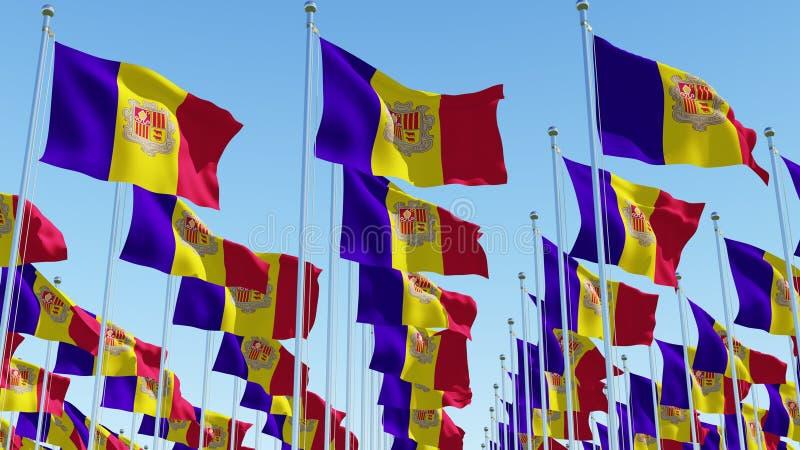 Många flaggor av Andorra stock illustrationer