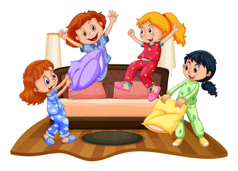 Många flickor på slummerpartiet royaltyfri illustrationer