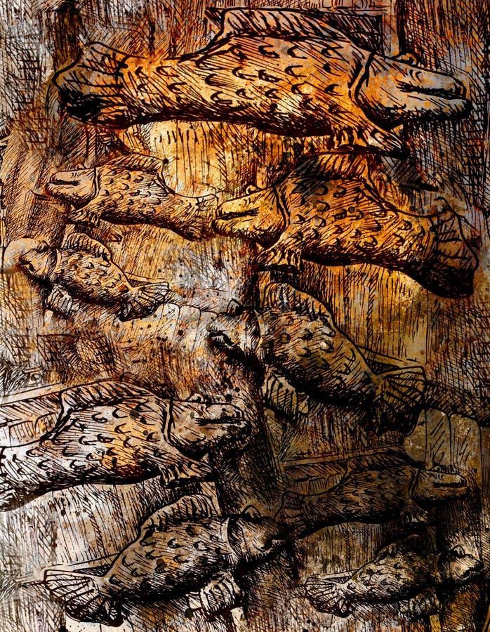 Många flygfiskar, sepia inristade stilillustrationen royaltyfri bild