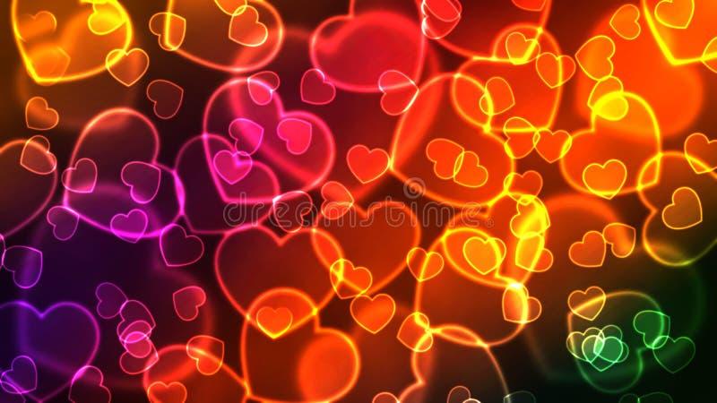Många glödande färgrika hjärtor på en mörk bakgrund stock illustrationer