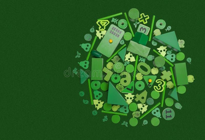 Många grön leksaker royaltyfri foto