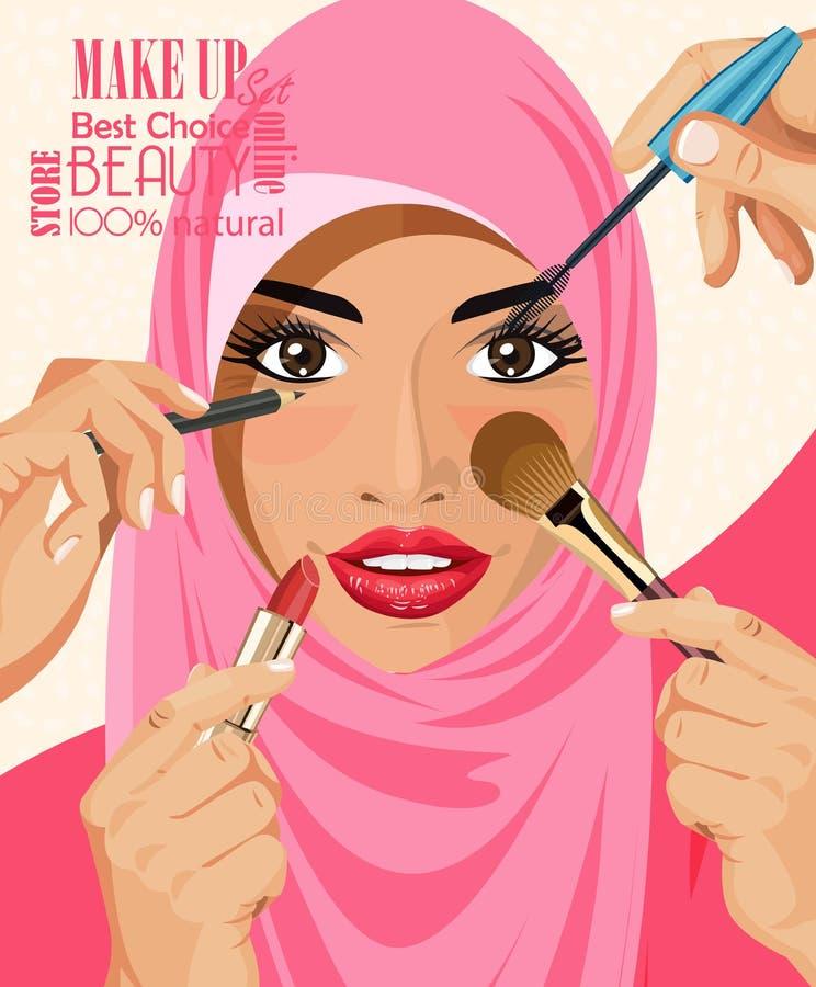 Många händer med skönhetsmedelborsten som gör smink av arabiska kvinnor för glamour i hijab royaltyfri illustrationer