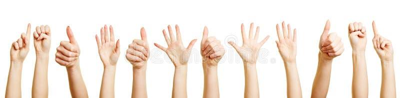 Många händer som gör olika gester royaltyfri foto